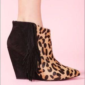 Betsey Johnson ZIAH Leopard Fringe booties